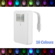 Motion Activated Toilet Light, Dreamiracle 16 Colours Changing LED Toilet Bowl Night Light Motion Sensor Battery Operated Bathroom Lamp