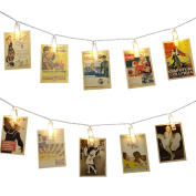LE LED Photo Clip String Lights, 20 LED 3m, Battery Powered Peg Picture Lights for Hanging Photos, Artwork, Notes, Christmas, Wedding, Party Decorative Lighting, Warm White