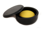 RAZZOOR shaving soap sea buckthorn in wooden bowl Charcoal-black with lid, 80g for fine-pored lather for wet shaving