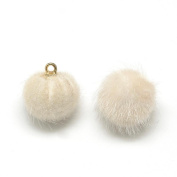 Angel Malone ® 10 x 16mm FLORA WHITE Mink Faux Fur Pom Pom Pendant Charms Jewellery Making Findings - UK SELLER
