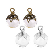 MagiDeal 4pcs Mini Glass Bottle Vials Wishing Bottle Charm Pendant & Metal Flower Cap