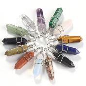 Kingken 9pcs Sandstone Hexagonal Column Pendants for Jewellery Making