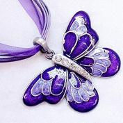 ZHUOTOP Women Jewellery Crystal Butterfly Rhinestone Sweater Chain Pendant Necklace