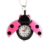 ZHUOTOP Women Girls Ladybug Beads Wing Open Quartz Chain Necklace Pocket Watch