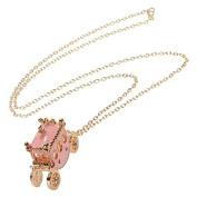 ZHUOTOP Women Rhinestone Light Pink Small Pumpkin Carriage Princess Pendant Necklace