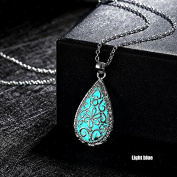 ZHUOTOP Fashion Water Drop Hollow Flower Glow In The Dark Pendant Chain Necklace