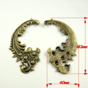 JulieWang 10pcs Antiqued Bronze Sea Beach Wave Pendant Charm for Jewellery Making 63x40mm