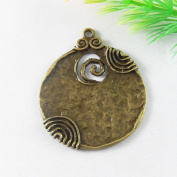 JulieWang 10pcs Antiqued Bronze Round Circle Wave Tag Pendant Charm for Jewellery Making 52x44mm