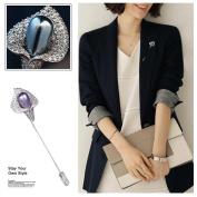 Tpocean Tulip Brooch Pin Pearl Rhinestone Covered Scarves Shawl Skirt Clip for Men & Women Girls