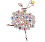 Qinlee Poppy Woman Brooches Ballet Dance Girl Elegant Women's Brooch Pins Rhinestone Covered Brooches For Wedding Party Christmas Xmas Décor