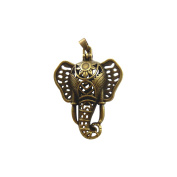 JulieWang 6Pcs Antiqued Bronze Elephant Beads Lockets Stone Pearl Cage Pendant Charm for Jewellery Making