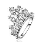 Kelaina 1 pc Elegant Vintage Style Princess Crown Tiara Ring for Women Gift
