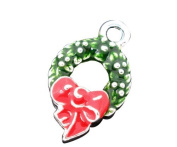 1 packet of 10 Silver Plated Enamel Christmas Holly Wreath Charm Pendants 25x15mm