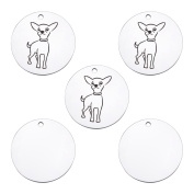 5PCS Chihuahua Round Pet Dog Tag Charms Pendants DIY for Jewellery Making and Crafting 20mm