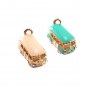 JulieWang 10pcs Mixed Enamel Pink Green School Bus Charm Pendant for Jewellery Making 19x12x10mm