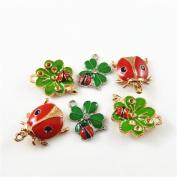 JulieWang 15pcs Mixed Enamel Clover Ladybug Charms Pendants for Jewellery Making