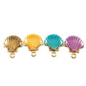 JulieWang 32pcs Mixed Enamel Shell Charm Pendant for Jewellery Making 18x15mm