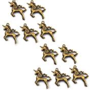 CosCosX 10 Pcs Vintage Tone Unicorn Pendant Charm Keyring for Bracelet Necklace DIY Crafts DIY Jewellry Making Kit Supplies,Bronze