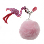 Albeey Flamingo Plush Ball Keychain Pendant