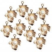MagiDeal 10 Pieces High quality 25x20mm Antique Silver/Gold Plated Simulated Pearl Charms Maple Leaves for Jewellery Findings Making Crafts - gold, as described