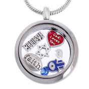 RUBYCA Themed Round Locket Necklace Crystal Birthstone Living Memory Floating Charm Silver Tone DIY