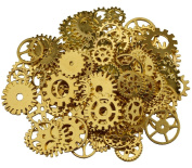 200 Gramme Assorted Vintage Gold Metal Steampunk Jewellery Making Charms Cog Watch Wheel