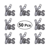 Tinksky 50Pcs YES Antique Charms Pendant For Necklace Jewellery Making Vintage Alloy English Letter Words