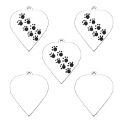 5PCS Pet Paw Heart Charms Pendants DIY for Jewellery Making Findings 22mmx19mm