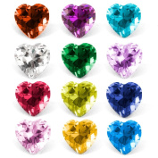 RUBYCA Mix Colour Heart Birthstone Crystal Glass Floating Charms fit Living Memory Locket 5mm 48 Pcs
