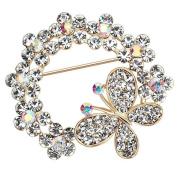 Cdet 1X Brooch Women Butterfly Flower Diamond Pin Christmas Wedding Bridal Pin Dress Scarves Shawl Clip Ladies Jewellery Love Gift