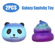 Winkey 2PCS Galaxy Panda & Poo Baby Cream Scented Squishy Slow Rising Squeeze Kids Toy,Soft Cute Animal Stress Relief Toys Gift for Kids Adults
