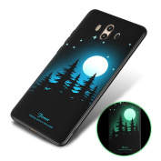 Huawei Mate 10 Silicone Case, Aeeque Luminous Style Slim Fit Soft Gel Flexible Back Bumper Shockproof Anti-slip Protection Cover for Huawei Mate 10 with Beautiful Forest Moonlisht Pattern