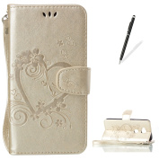 KaseHom HUAWEI Y5 II Embossed Leather Case [Free Touch Stylus Pen] Love Heart Butterfly Pattern Magnetic Flap Closure Wallet Cover Slim Protective Holster for HUAWEI Y5 II - Gold