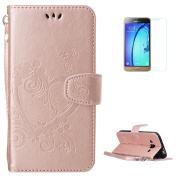KaseHom Samsung Galaxy J310 Embossed Leather Case [Free Screen Protector] Love Heart Butterfly Pattern Magnetic Flap Closure Wallet Cover Slim Protective Holster for Samsung Galaxy J310 - Pink