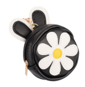 Kanggest Little Girl Purse Fashion Zipped Purse with Keyring Loop Creative PU Leather Flower Pattern Charm Mini Coin Wallet Bag for Women Little Girl Kids Gift