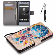 Sony Xperia Z5 3D Painted Leather Case Flip Wallet Case For Sony Xperia Z5,Huphant Campanula Pattern Smooth Lines Comfortable Touch Advanced PU Holster Card Slots Holster Can Stand Function And Protecyion + Black Retractable Dust Plug Stylus Pen