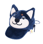Kanggest Fashion Zipped Purse with Keyring Loop Creative Plush Dog Pattern Hat Shape Pouch Charm Mini Coin Wallet Bag for Women Girl Kids Gift