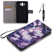 Huawei Mate 10 3D Painted Leather Case Flip Wallet Case For Huawei Mate 10, Huphant Violet Butterfly Pattern Smooth Lines Comfortable Touch Advanced PU Holster Card Slots Holster Can Stand Function And Protecyion + Black Retractable Dust Plug Stylus Pen