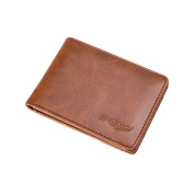 Sundatebe Mens Genuine Leather Bifold Wallet Short Purse Credit ID Card Holder with Clip
