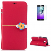 KaseHom Soft Leather Case for Samsung Galaxy A310/A3 2016 [Free Screen Protector] Stylish Flower Clasp [Wallet Card Slots] Kickstand Flip Folio Book Slim Protection Cover Holster - Red
