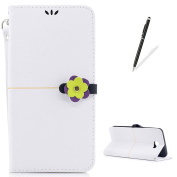 KaseHom Soft Leather Case for Samsung Galaxy J7 Prime [Free Touch Stylus Pen] Stylish Flower Clasp [Wallet Card Slots] Kickstand Flip Folio Book Slim Protection Cover Holster - White