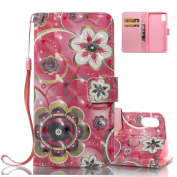 Aeeque 3D Red Mandala Flowers Wallet Case for iPhone 10/iPhone X 2017 15cm , Ultra Thin PU Leather Bookstyle Flip Stand Function Magnetic Clasp with Credit Card Slots Holster Covers