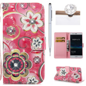Huawei P9 Lite Wallet Case,Flip Cover for Huawei P9 Lite,Felfy 3D Colourful Painting Luxury Artificial Premium PU Leather Wallet Folio Cover with Rhinestone Diamond Magnetic Closure Wrist Strip and Money Credit Card Slot Kickstand Folding Case Cover fo ..