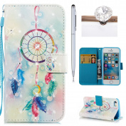 iPhone 5 5S Wallet Case,Flip Cover for iPhone SE,Felfy 3D Colourful Painting Luxury Artificial Premium PU Leather Wallet Folio Cover with Rhinestone Diamond Magnetic Closure Wrist Strip and Money Credit Card Slot Kickstand Folding Case Cover for iPhone ..