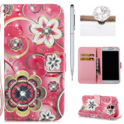 Galaxy S5 Neo Wallet Case,Flip Cover for Samsung Galaxy S5,Felfy 3D Colourful Painting Luxury Artificial Premium PU Leather Wallet Folio Cover with Rhinestone Diamond Magnetic Closure Wrist Strip and Money Credit Card Slot Kickstand Folding Case Cover  ..