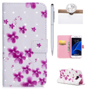 Galaxy S7 Wallet Case,Flip Cover for Samsung Galaxy S7,Felfy Luxury Artificial Premium PU Leather Wallet Folio Cover with Magnetic Closure Wrist Strip and Money Credit Card Slot Kickstand Folding Case Cover for Samsung Galaxy S7,3D Colourful Painting E ..