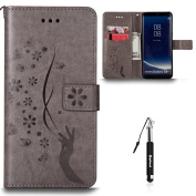 Samsung S8 Leather Case Flip Wallet Case For Samsung S8, Huphant Butterfly Pattern Girl Slender Hand Smooth Lines Comfortable Touch Advanced PU Grey Holster Card Slots Holster Can Stand Function And Protecyion + Black Retractable Dust Plug Stylus Pen ( ..