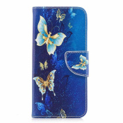 Galaxy A5 2018 Case, COOSTOREEU Vivid Cute Funny Colourful Painting Pattern PU Leather Folio Flip Style Magnetic Closure Wallet Case,Gold butterfly