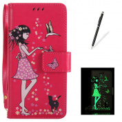Kasehom Samsung J3 2017 Leather Case [Free Stylus Pen] Luminous Flip Magnetic Holster [3 Card Slot] [Kickstand] Durable Wallet Cover Fairy Girl Cute Cat Butterfly Embossed Design - Rose Red