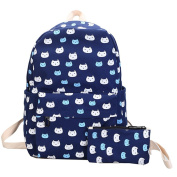 Fixuk Cartoon Cat Print Canvas Backpack Travel School Shoulder Bag with Small Wallet